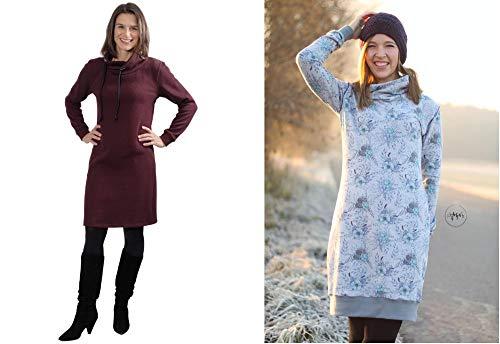 Schnittmuster auf Papier für ein Kleid oder Pullover mit Rollkragen oder Schalkragen
