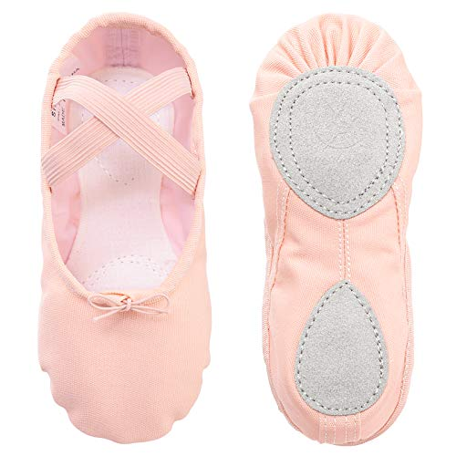 Ballet Shoes Ballet Dance Shoes Split Leather Sole Canvas Yoga Gymnastic Shoes for Girls Women Kids Children's Adults Pink