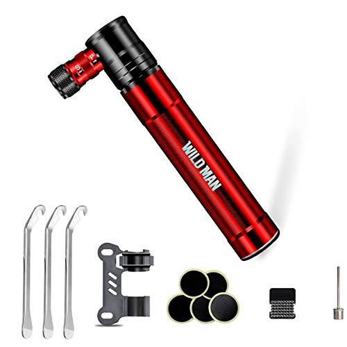 ChangMi Mini Pompa per Bici con Kit Riparazione Pneumatici, Processo CNC 120 PSI Pompa a Mano per Biciclette - Affidabile, Compatta e Leggera – Cambio Rapido Valvola Presta e Schrader (Red)
