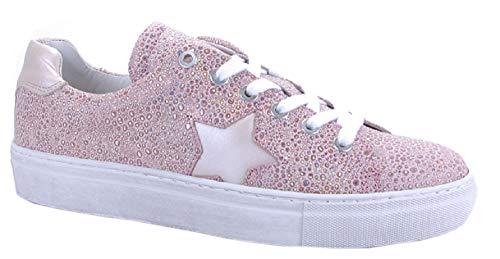 Binks Damenschuh Damen-Sneaker Rose mit funkelden Glitzerpünktchen und Stern NEU Gr. (38)