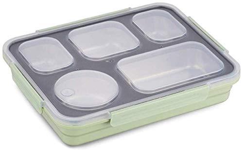 Pkfinrd Lunch BoxStudent White-Collar Compartment lekt geen voedsel of mengt milieuvriendelijke Bento-dozen met bestek Verenigde Staten Groen 5 vakken