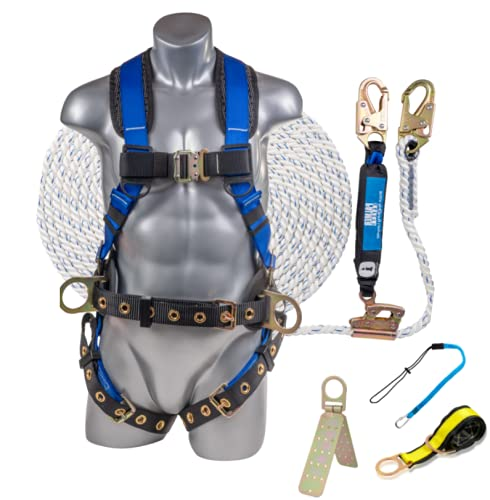 Palmer Safety Premium Fall Protection Roofing Bucket Kit I Full Body Safety Harness, 50' Vertical Rope, Anchor Set & Free Gift I OSHA/ANSI Compliant Arrest Kit (2X-Large, Blue)