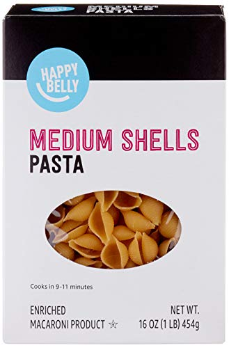Amazon Brand - Happy Belly Pasta, Medium Shells, 16 Ounce