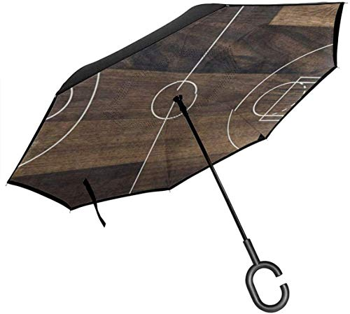 Basketball Court On Vintage Wooden Cars Reverse Umbrella Windproof UV Proof Travel Outdoor with C-Shaped Handle