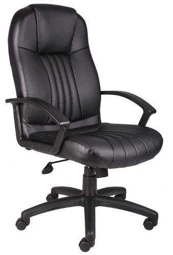 Boss Office Products High Back Leather Plus Chair in Black Eco Leather Conference Chair
