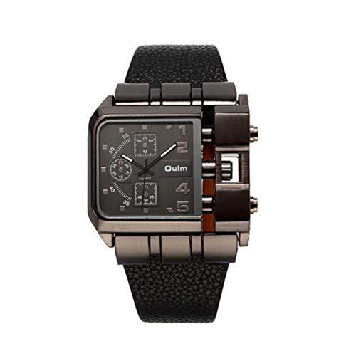 Zwbfu Reloj de Cuarzo de Lujo para Hombres Cuadrados con Banda de Cuero para Hombre Reloj Antiguo