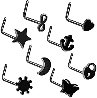 8pcs/set Punk Nose Studs Piercing L Shaped Heart Moon Star Stainless Steel Nose Ring Stud Body Piercing For Women Jewelry Gift,Black