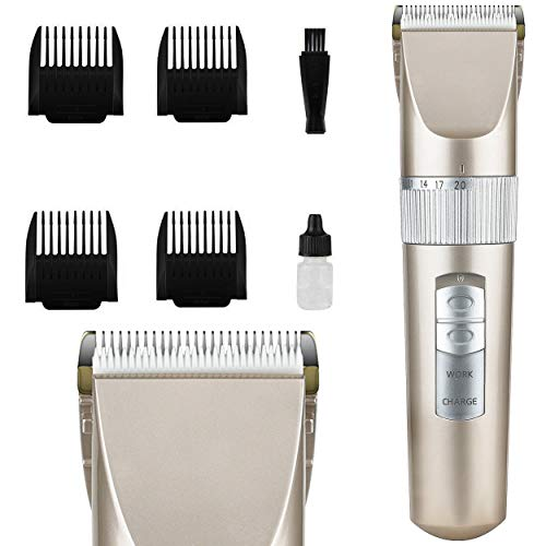 Oramics RFC-1105-Gold Profi Haarschneider Bartschneider mit 4 Aufsätzen – Haarschneidemaschine mit Akku– Haartrimmer für Bart und Haare und Körper, Schermaschine für zu Hause und auf Reisen