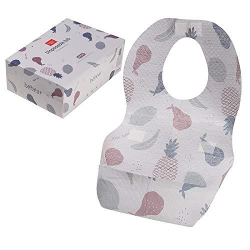Baberos desechables Bebamour de 3 capas, baberos de destete ajustables para viajar, bonito protector de ropa de bebé, para bebés y niñas, paquete de 20/1 caja