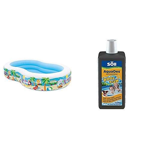 Intex Swim Center Seashore Pool - Kinder Aufstellpool - Planschbecken - 262 x 160 x 46 cm - Für 3+ Jahre & Söll AquaDes 1 l, Pool und Planschbecken Desinfektion, Keine allergischen Reaktionen
