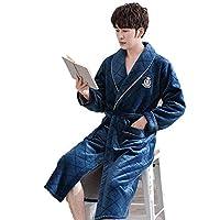 ホームライフ男性は暖かく保つホームウェアナイトガウンカジュアルソフト快適なナイトウェアパジャマ冬プラスサイズフランネル着物ローブガウン