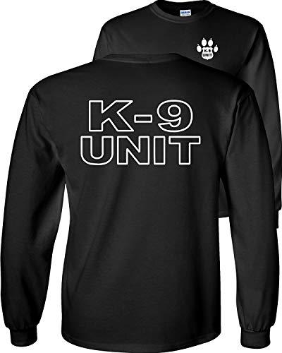 Fair Game K-9 Unit Police Officer Long Sleeve T-Shirt K9 Handler Uniform Law Enforcement Duty Trainer V1-Black-Large