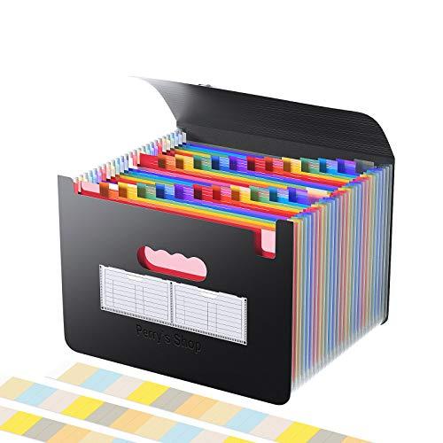 Cartelle espandibili per file/organizzatore di file a fisarmonica con busta, scatola portaoggetti espandibile a 26 tasche formato lettera A4