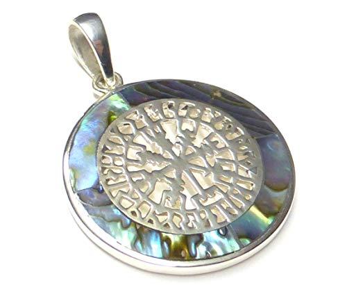 Anhänger Silber, Kettenanhänger, Motiv Sonnenrad, mit Abalone Muschel, aus 925 Sterling Silber gearbeitet, Geschenk, Schmuck, Freundschaft,