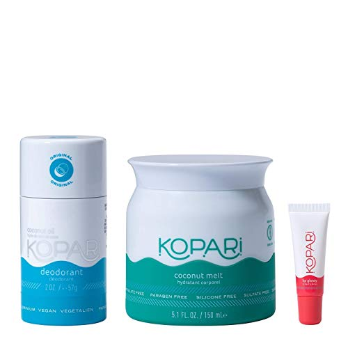 Kopari Founders Favorite - Original Deodorant Coconut Melts and Clear Lip Glossy - Non-Toxic, Paraben Free, Gluten Free & Cruelty Free | Made with Organic Coconut Oil