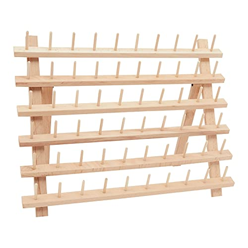 Sewing Thread Holder, 60 Spool Wooden Rack Organizer (15.7 x 12.6 x 4.9 In)