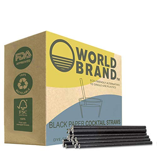 World Brand 5X Stronger Black Cocktail Paper Straws 250-Pack - Biodegradable Drinking Straws - Eco-Friendly - Plastic Dye Free - Perfect for Juices Shakes Smoothies Ice Coffee More