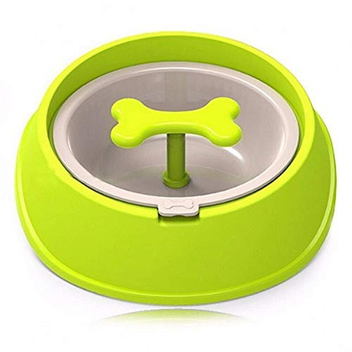 Kalmerende Bed Plush Fun Bone Shaped Slow Feeder Hondenvoer Bowls Water Bowl Gerechten For Puppy Small Large Dog Dog Tag (Color : Green)