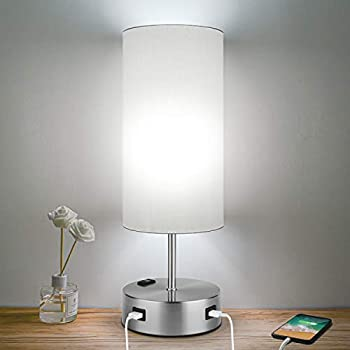 HueLiv 3-Way Dimmable Touch Control Table Lamps with 2 USB