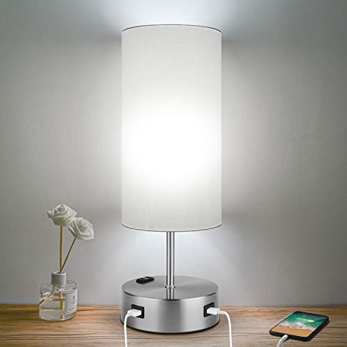 3-Way Dimmable Touch Control Table Lamps with 2 USB, AC Outlet and E26 60W 5000K Daylight White Edison Bulbs Included, Perfect for Living Room Office Reading, Silver
