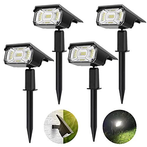 Solar Spot Lights Outdoor, PESIVI 40 LEDs Solar Landscape Spotlights, Adjustable 2-in-1 USB & Solar Powered IP65 Waterproof Wall Light for Yard Garden Driveway Porch Walkway Pool Patio - 4 Pack