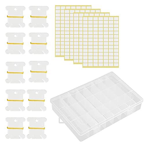 Mikihat Accesorios Punto de Cruz, Caja Bordar, Caja Organizadora de Hilo de Bordar con 100 Plástico Blanco Punto de Cruz Bobinas y 4 Adhesivas en Blanco para Bordar Coser Artesanal DIY