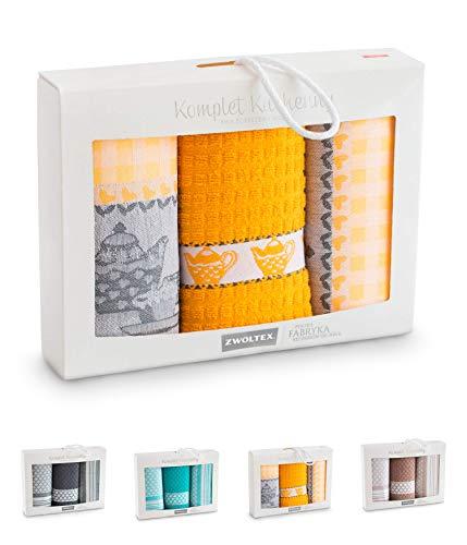 ZWOLTEX Hochwertige Geschirrtücher aus 100% Baumwolle I Made IN EU I Oeko-TEX 100 I Jacquard Geschirrhandtücher Geschenkset - 2X Küchentücher + 1x Handtuch Senf-Gelb