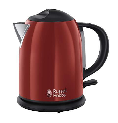 Russell Hobbs Colours Red - Hervidor de agua compacto, 1L, resistencia oculta, 2200 W, acero inoxidable, Rojo - ref. 20191-70