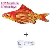 電子ペット猫キャットニップおもちゃ電気USB充電シミュレーション魚犬猫噛み噛みトレーニングペット子供おもちゃ偽魚-赤い鯉