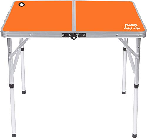 """PSKOOK Folding Camping Table Picnic Table Perfect Size for Travel BBQ Beach Portable Lightweight Aluminum Folding Table 27.6""""x19.7""""x23.6"""" 2 Heights Outdoor Dinner Table"""