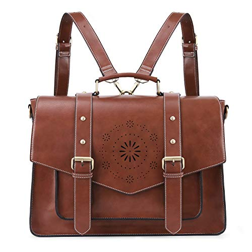ECOSUSI Backpack for Women Briefcase Messenger Laptop Bag Vegan Leather Satchel Work Bags Fits 15.6 inch Laptops, Coffee