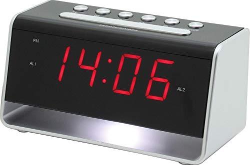 Soundmaster UR8100SI in Silber, Wecker, Uhr mit Nachtlicht und USB-Ladebuchse