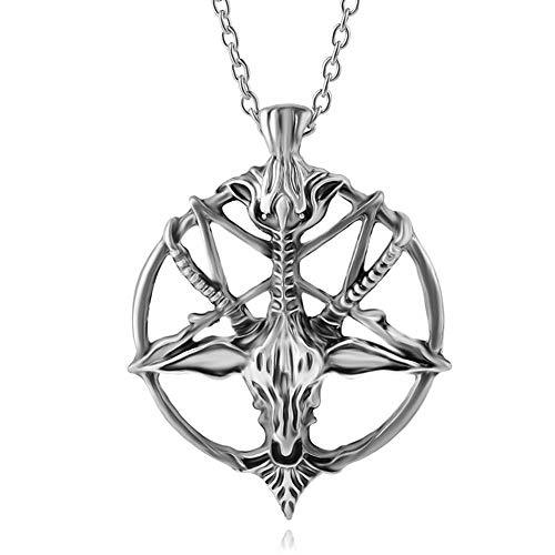 Anhänger Halskette Inverted Pentagram Ziegenkopf Anhänger Halskette Brot Schafskopf Halsketten Anhänger Silber