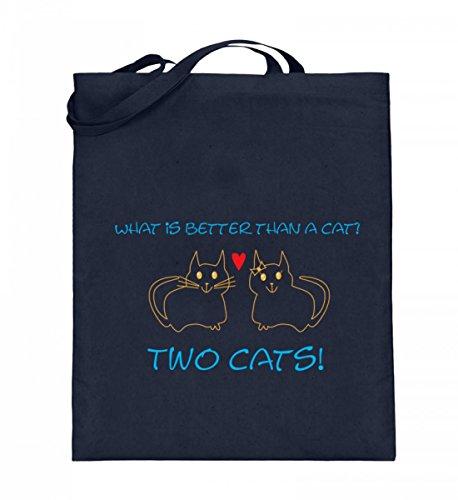 What is better than a cat? Two cats! | Katze Katzen Katzen-Geschenk Katzenliebhaber - Jutebeutel (mit langen Henkeln)