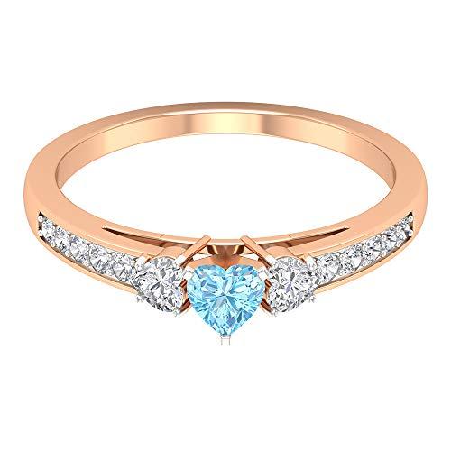 Anillo de aguamarina en forma de corazón de 4 mm, 1/4 quilates HI-SI diamante, anillo de compromiso de oro de tres piedras (calidad AAA), 14K Oro rosa, Size:EU 61
