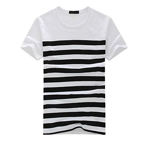 waotier Camiseta De Manga Corta Top De Manga Corta con Estampado De Rayas para Hombre Ropa De Hombre Camiseta De Verano Primavera