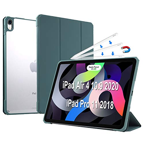 Case for iPad Air 4 10.9 Inch 2020(4th Gen)/iPad Pro 11' 2018(1st Gen), Lightweight Smart Trifold Stand Cover with Transparent PC Back Shell, Full Body Protective,Auto Wake/Sleep (Teal)