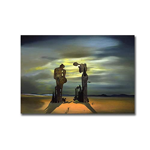 Kissherely Salvador Dali Archeological Reminiscence of Millets Angelus Painting Canvas Poster Print Cuadros Wall Art Picture for Bedroom-50X70cm Frameless