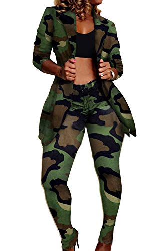 2 Piece Outfits for Women Camouflage Print Long Sleeve Blazer and Skinny Long Pants Set Clubwear
