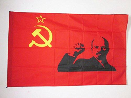 AZ FLAG Flagge SOWJETUNION UDSSR MIT LENINE ERHOBENER Faust 90x60cm - Kommunismus Fahne 60 x 90 cm Scheide für Mast - flaggen Top Qualität