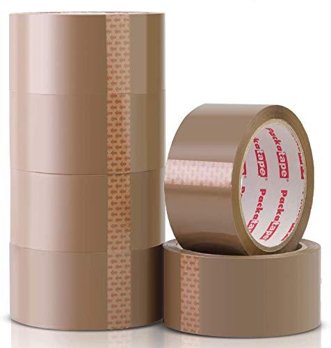 Packatape | Paketklebeband braun | 66m lang & 48mm breit | Ideal als Klebeband, Paketband, Verpackungsmaterial & Packband | 6 Rollen