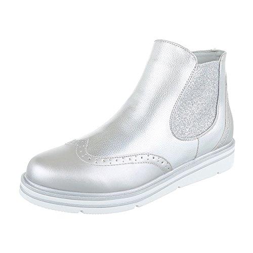 Ital-Design Chelsea Boots Damen-Schuhe Stretch Stiefeletten Silber, Gr 38, H719-