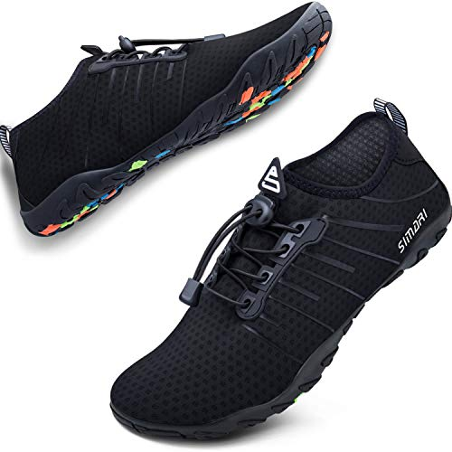 SIMARI Unisex Water Sports Shoes Barefoot Slip-on Indoor Outdoor Sports Activities Summer 208 Black 8.5W/7.5M