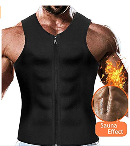 Men's Waist Trainer Vest for Weight Loss-Zipper Body Shaper Sauna Tank Workout Shirt (S, Men)