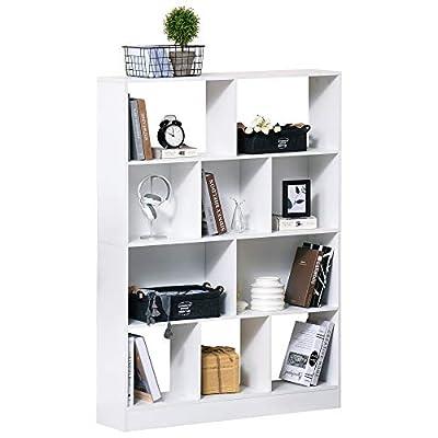 AMPLIO ESPACIO: Esta estantería de 4 niveles con 10 compartimentos ofrece mucho espacio para que puedas guardar tus libros, plantas, fotos, recuerdos, pequeños objetos decorativos y otros artículos del hogar COMPACTO: Mueble con poca profundidad que ...
