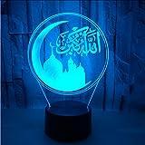 Shuyinju Muslim Moslems 3D Kleine Lampe Luminary Usb Führte Acryl Led-Licht Weihnachtsdekorationen...