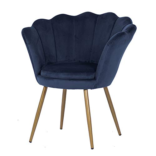 LEPAK Blue Velvet Chair Upholstered Shell Chair,Accent Chair Leisure Tub Chair Occasional Armchair for Living Room Cafe Vanity with Gold Plating Metal Legs (Oyster Shell back-Blue)