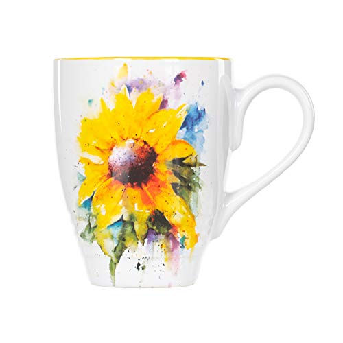 DEMDACO Dean Crouser Sunflower Watercolor Yellow On White 16 Ounce Glossy Stoneware Mug With Handle