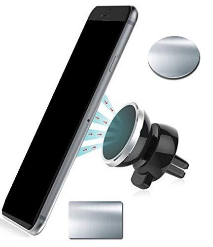 Lüftungsgitter Magnet Handyhalterung fürs Auto | Universale KFZ Magnet Halter | Autohalterung 360° drehbar Kompatibel mit iPhone XS Max, Samsung Galaxy, Huawei und weiteren Smartphones | Farbe Silber