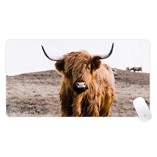 Mouse Pad Portrait of Highland Cow Large Gaming Mousepad Extended Mouse Pads for Computer Laptop Keyboard PC 15.8x29.5Inch